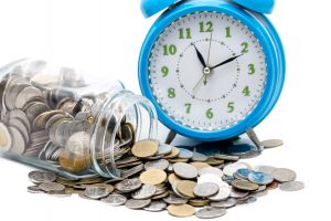 coin saving and time clock concept for a wage and hour lawyer columbus