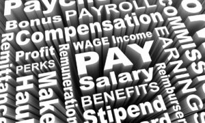 Pay, wage, salary words for discrimination white on black background for wage and Granville wage and hour attorney.